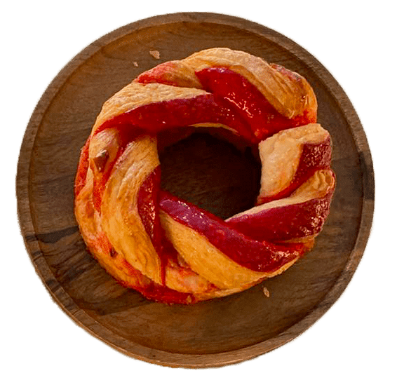 couronne de Brioche feuilletée Praline Rose